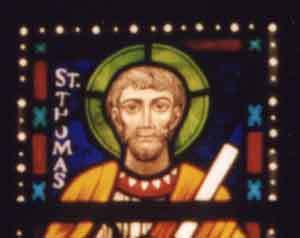 stained glass window of Saint Thomas